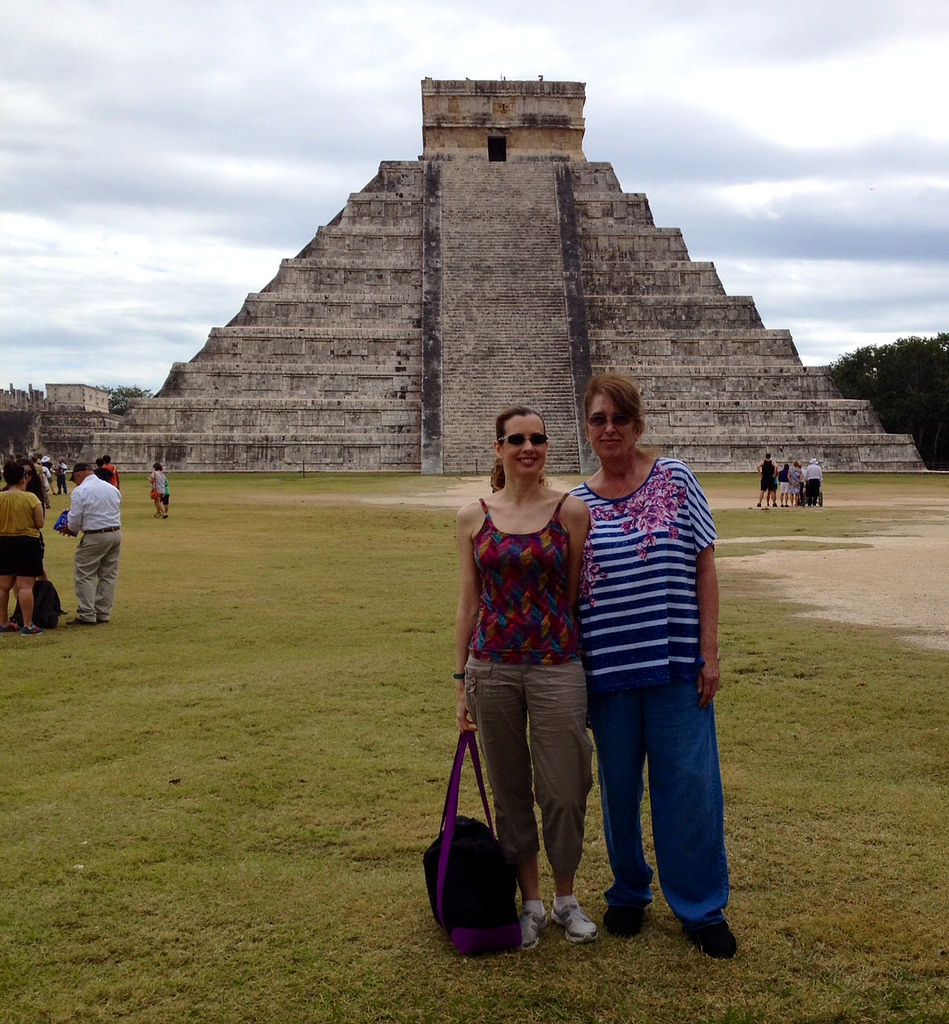 Liberty Travel consultant Christina Racek and her aunt at Chichen Itza.