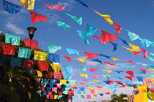 Colorful flags in Mazatlan