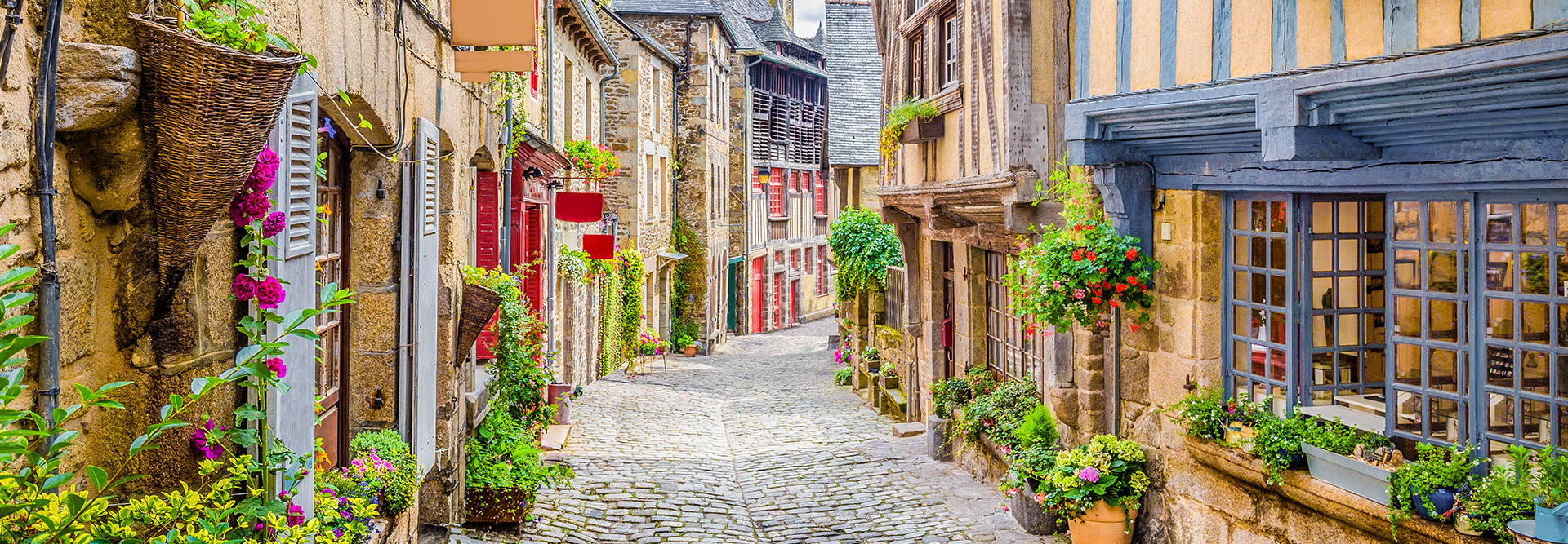 Cobblestone Street in France, Europe