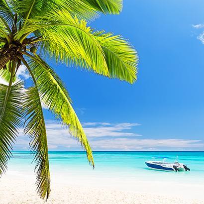 speed boat docked on the beach of Punta Cana