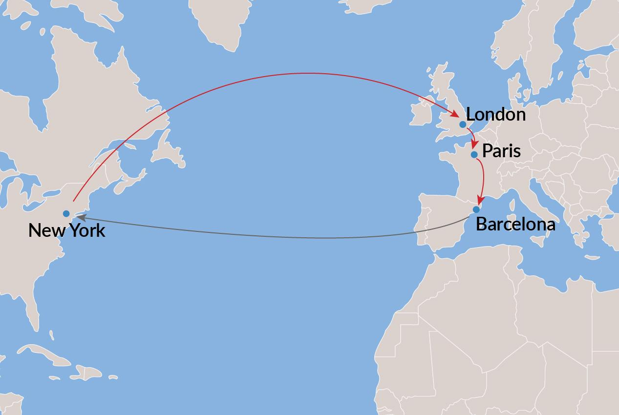 New York-London-Paris-Barcelona-New York (All Nonstop) - Economy