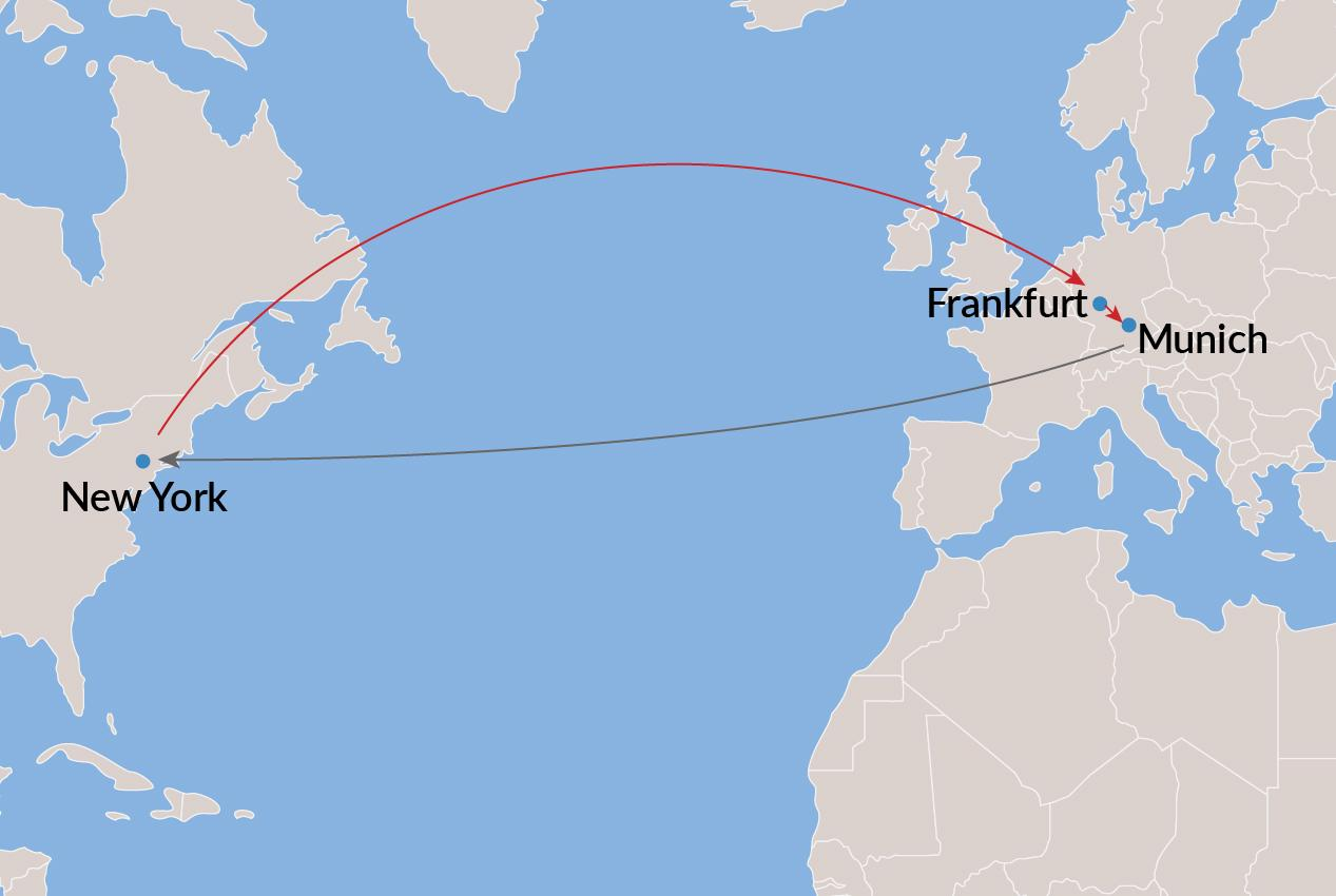 New York-Frankfurt-Munich-New York (All Nonstop) - Economy
