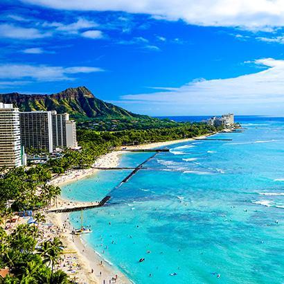 Scenic coastline in Waikiki, Hawaii