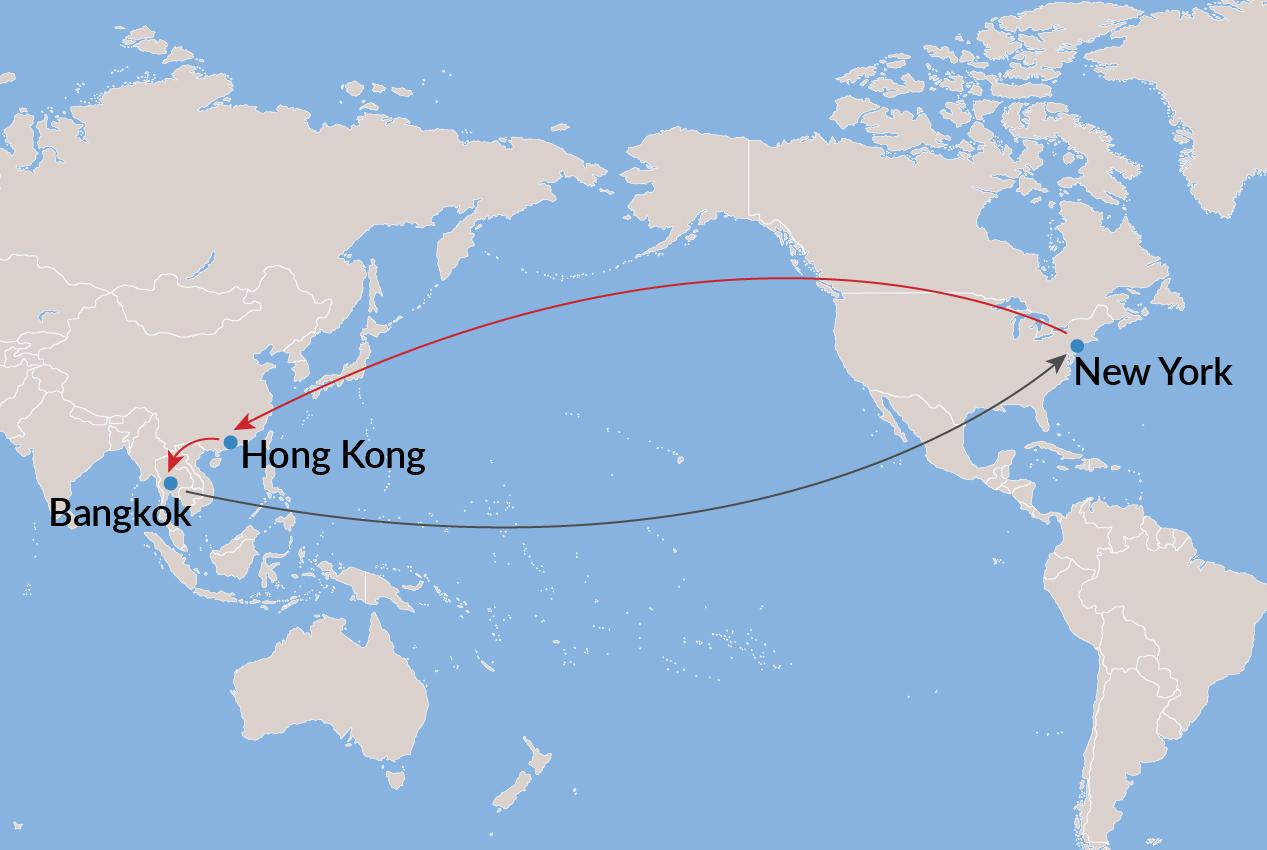 New York-Hong Kong-Bangkok-New York - Economy