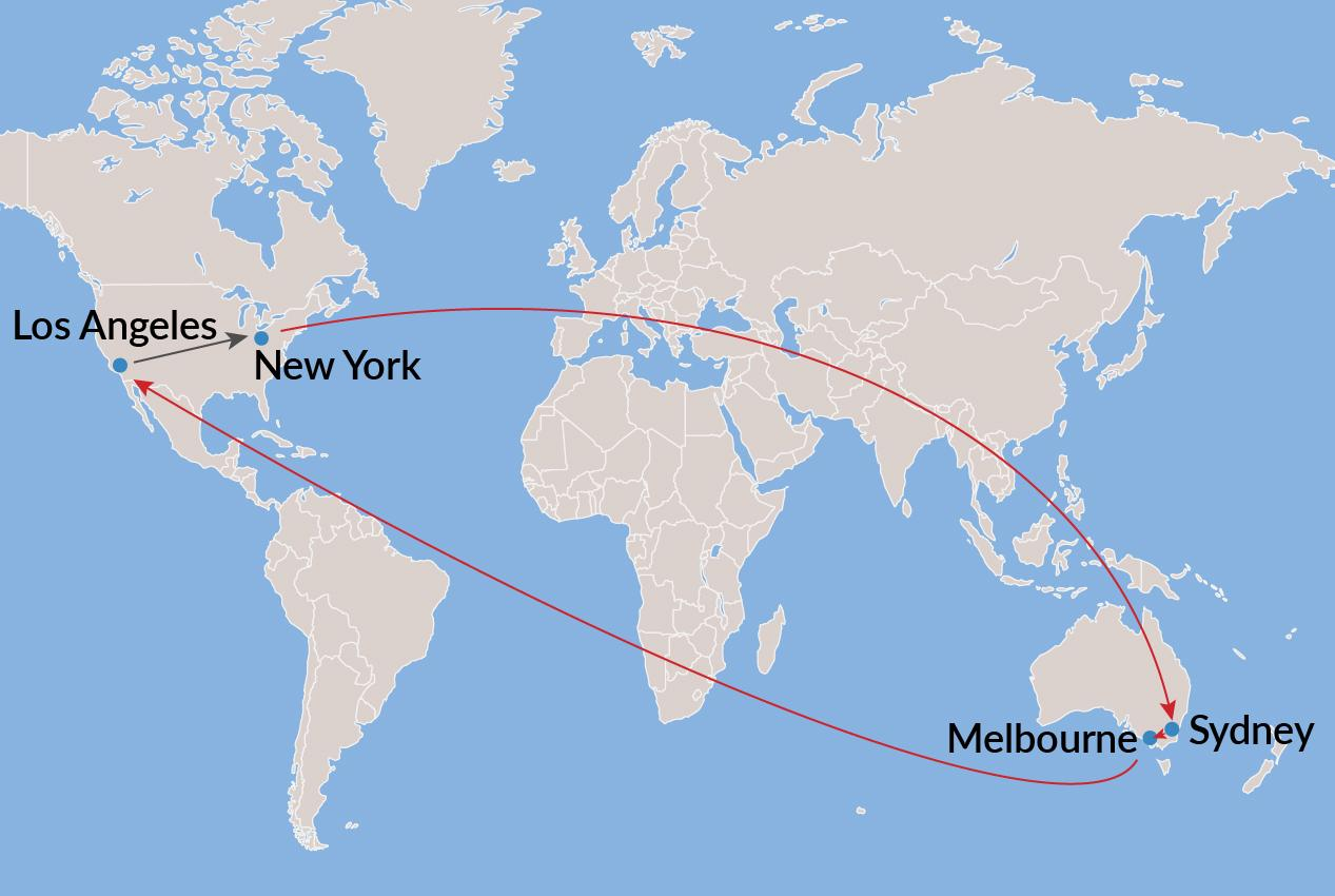 New York-Sydney-Melbourne-Los Angeles-New York - Economy