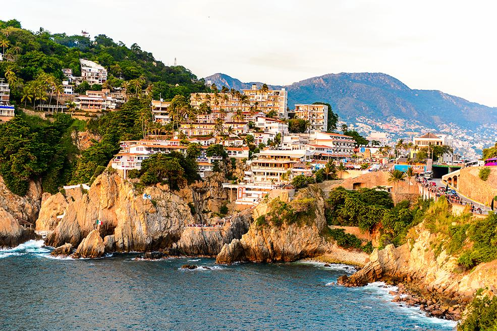 Views of Acapulco's mountainous coastline villages overlooking the water