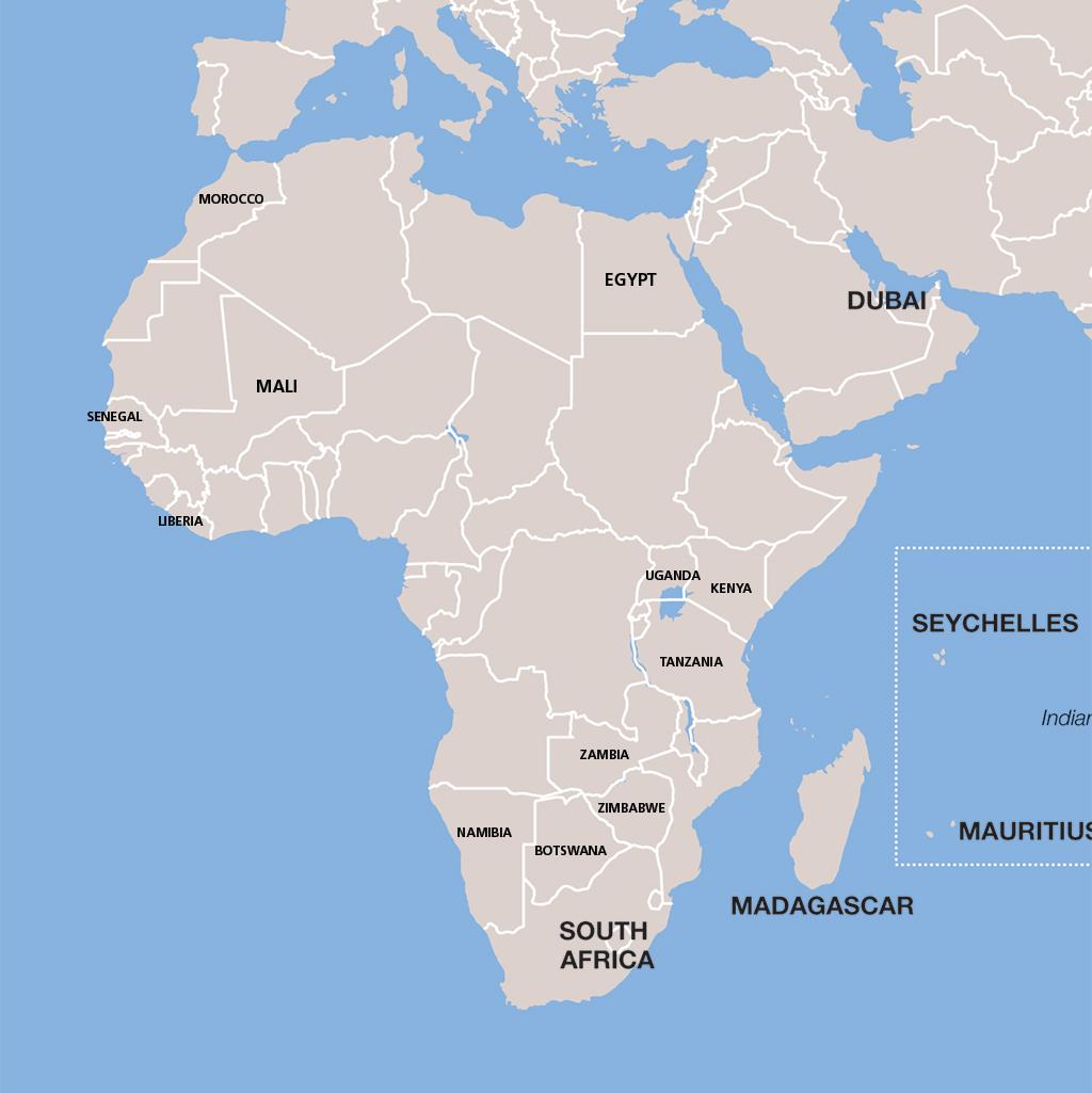 Africa vacation map