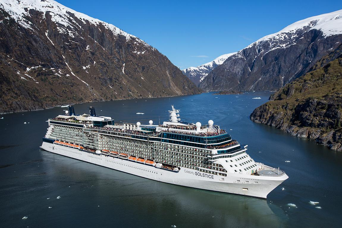 Aerial images of Alaska cruises traveling through fjords