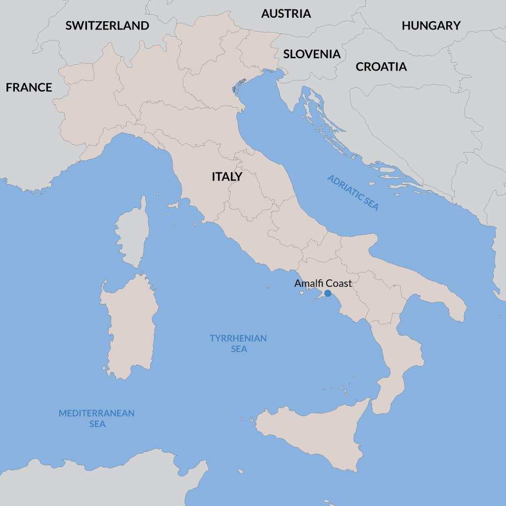 Amalfi Coast vacations map