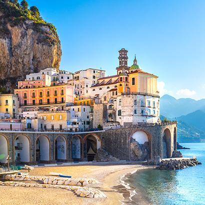 homes line the coast of the Amalfi Coast