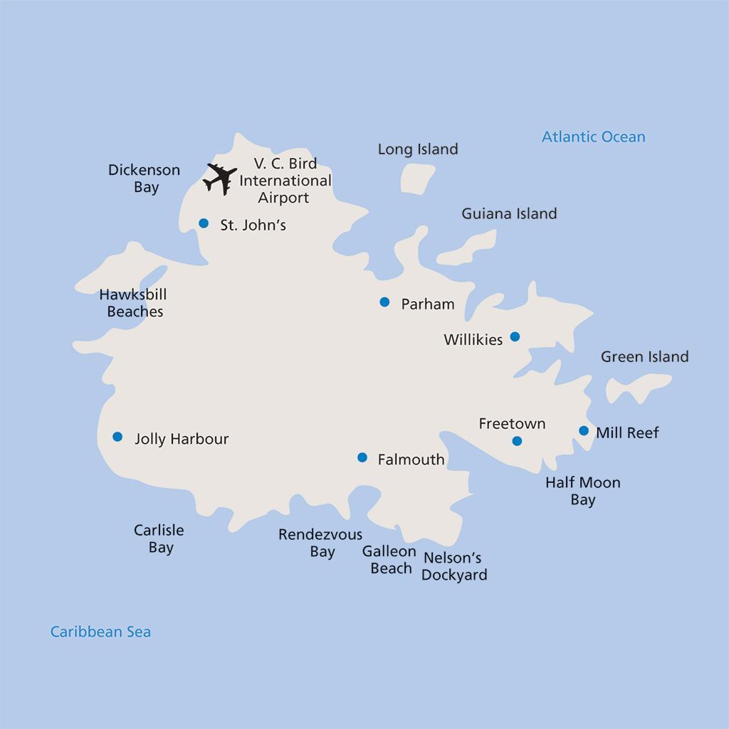 Antigua vacation map
