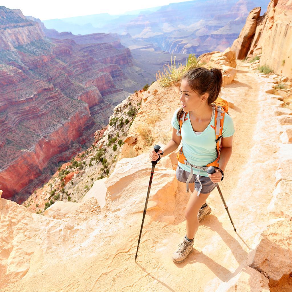 Hiking along sandstone trails through the Arizona desert