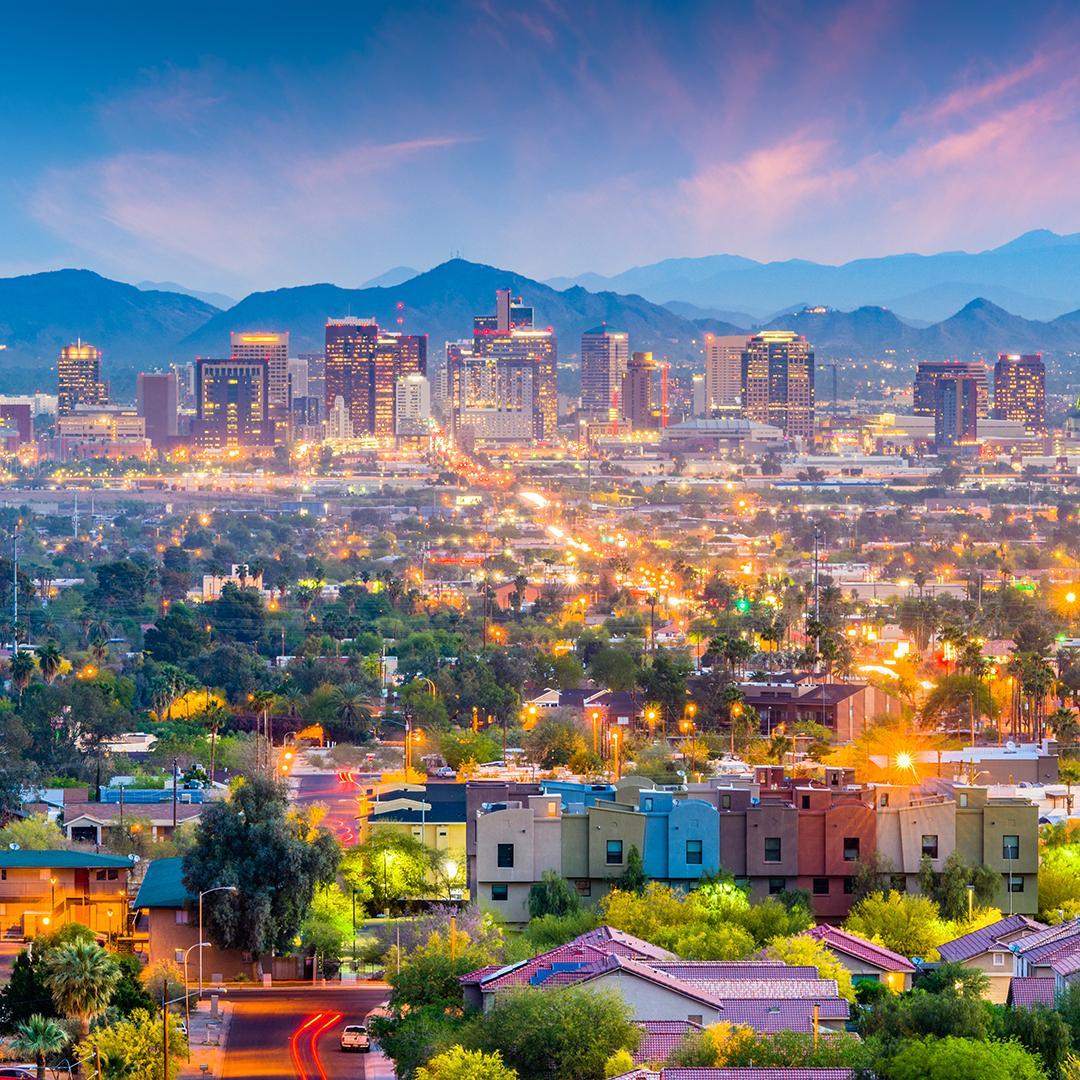Views of an Arizona city's skyline at night