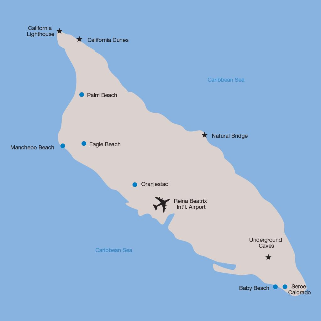 Aruba vacation map