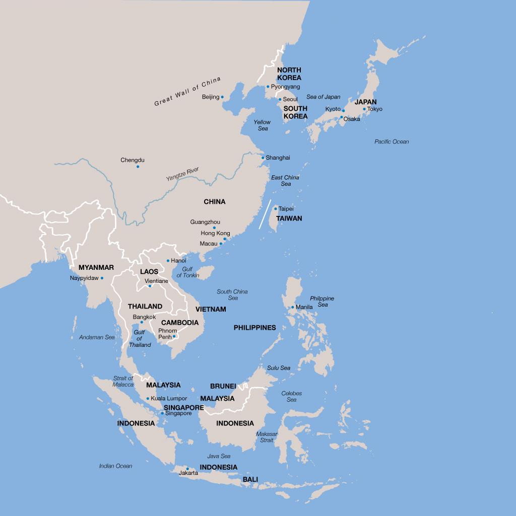 Asia Vacations Map