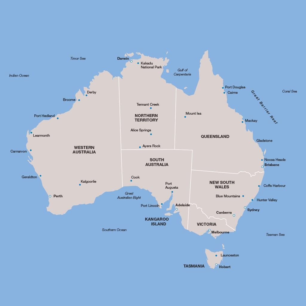 Australia vacation map
