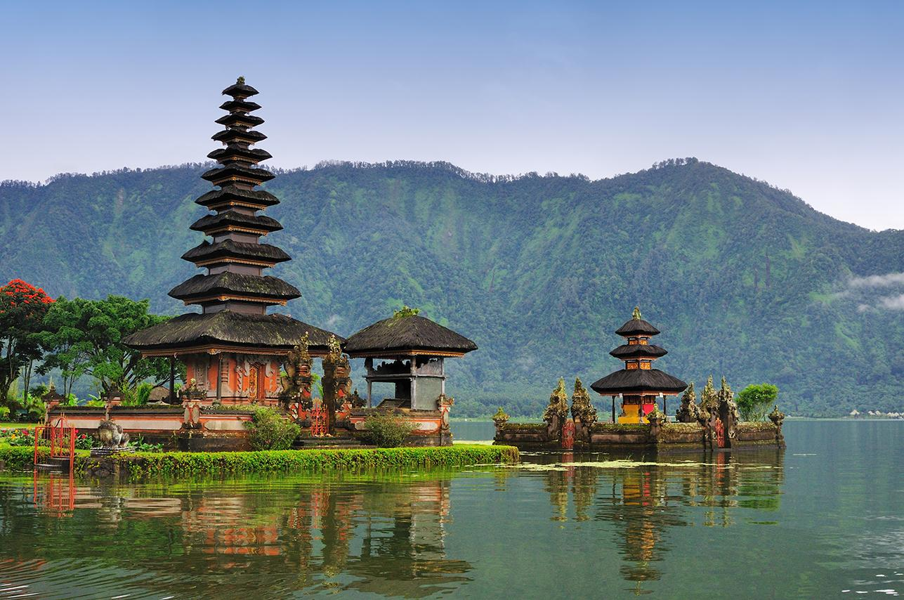 Pagodas by the water in Bali, Indonesia