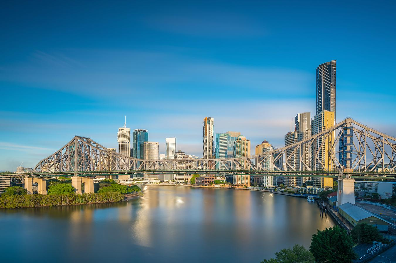 Views of Brisbane's skyline from the coast
