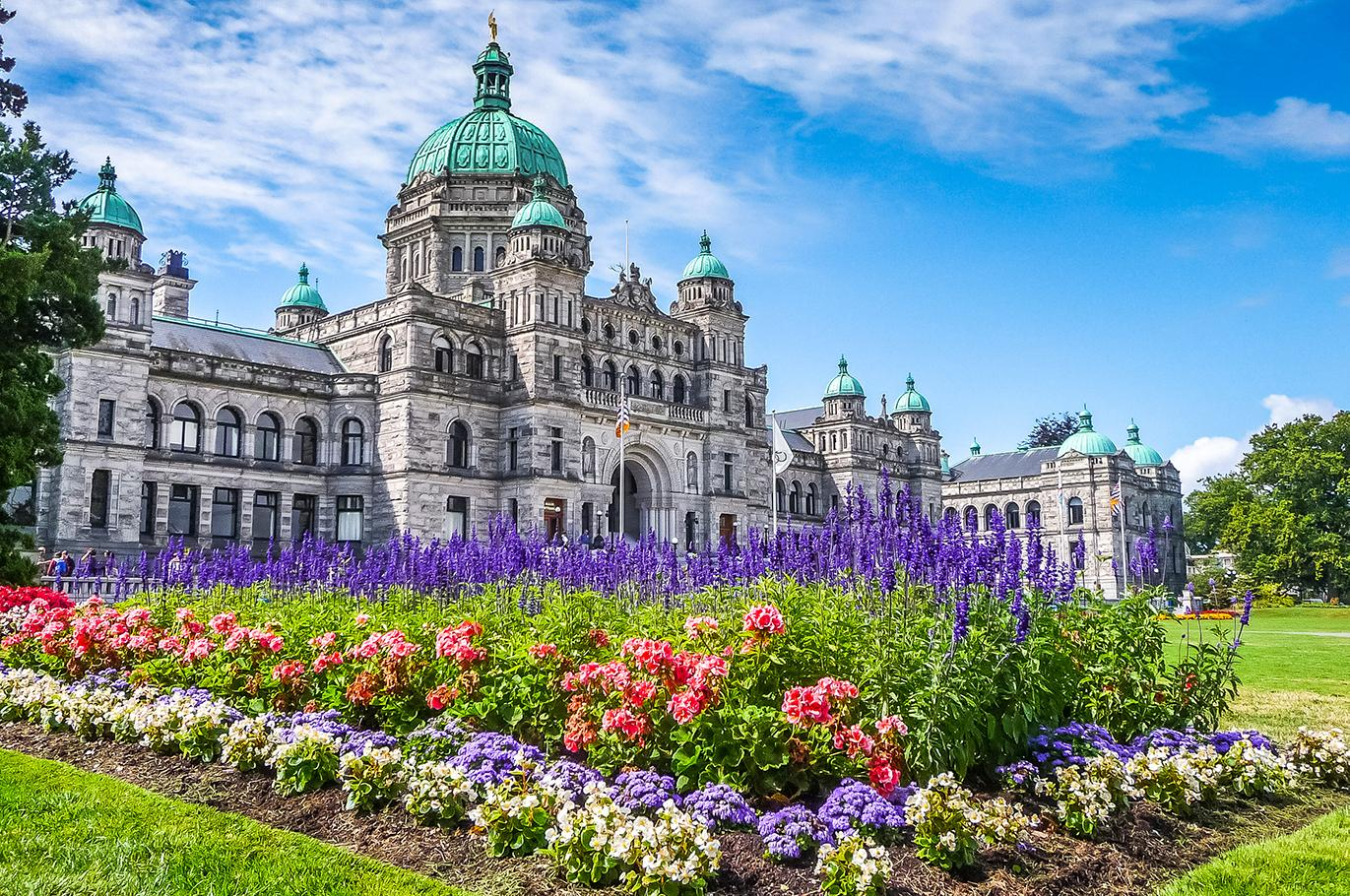 Views of the Parliament Building and flowers in Victoria British Columbia