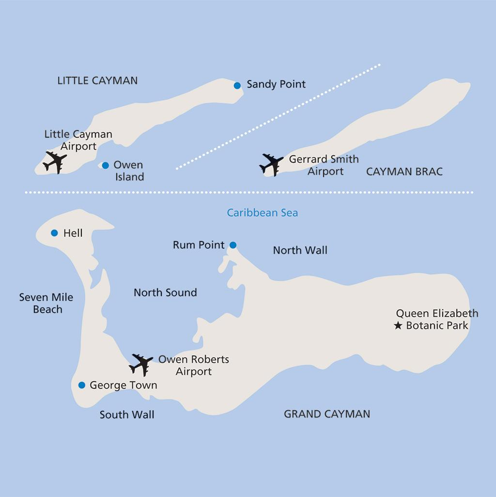Cayman island vacation map