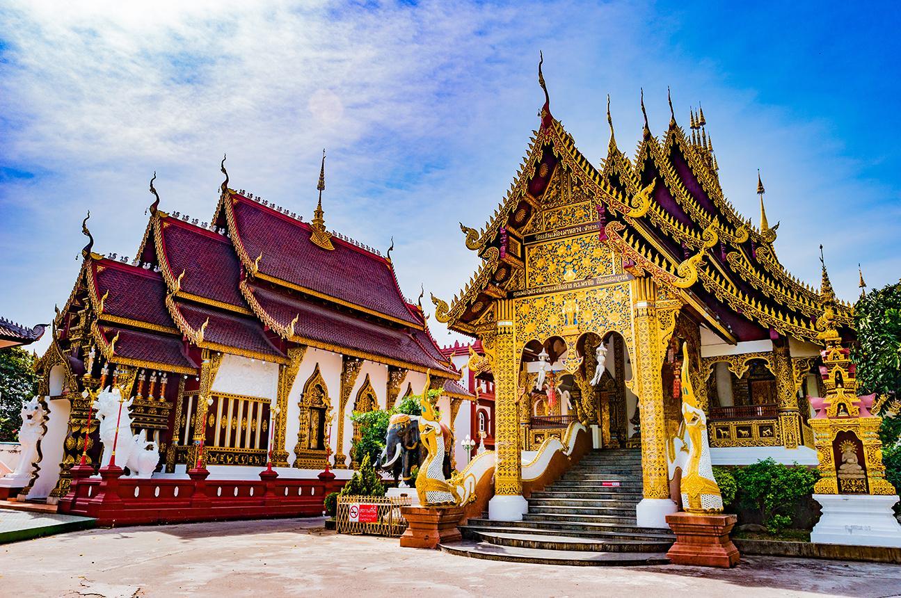 Elaborate temples in Chiang Mai, Thailand
