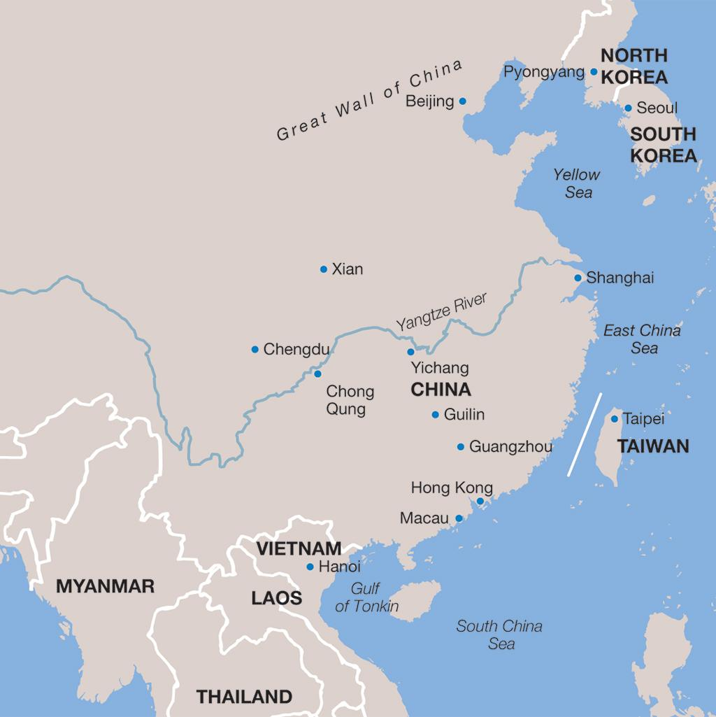 China vacations map