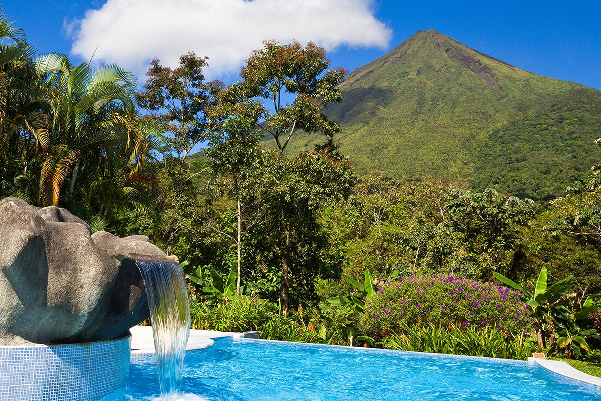 View of volcano and rainforest with a Costa Rica vacation package