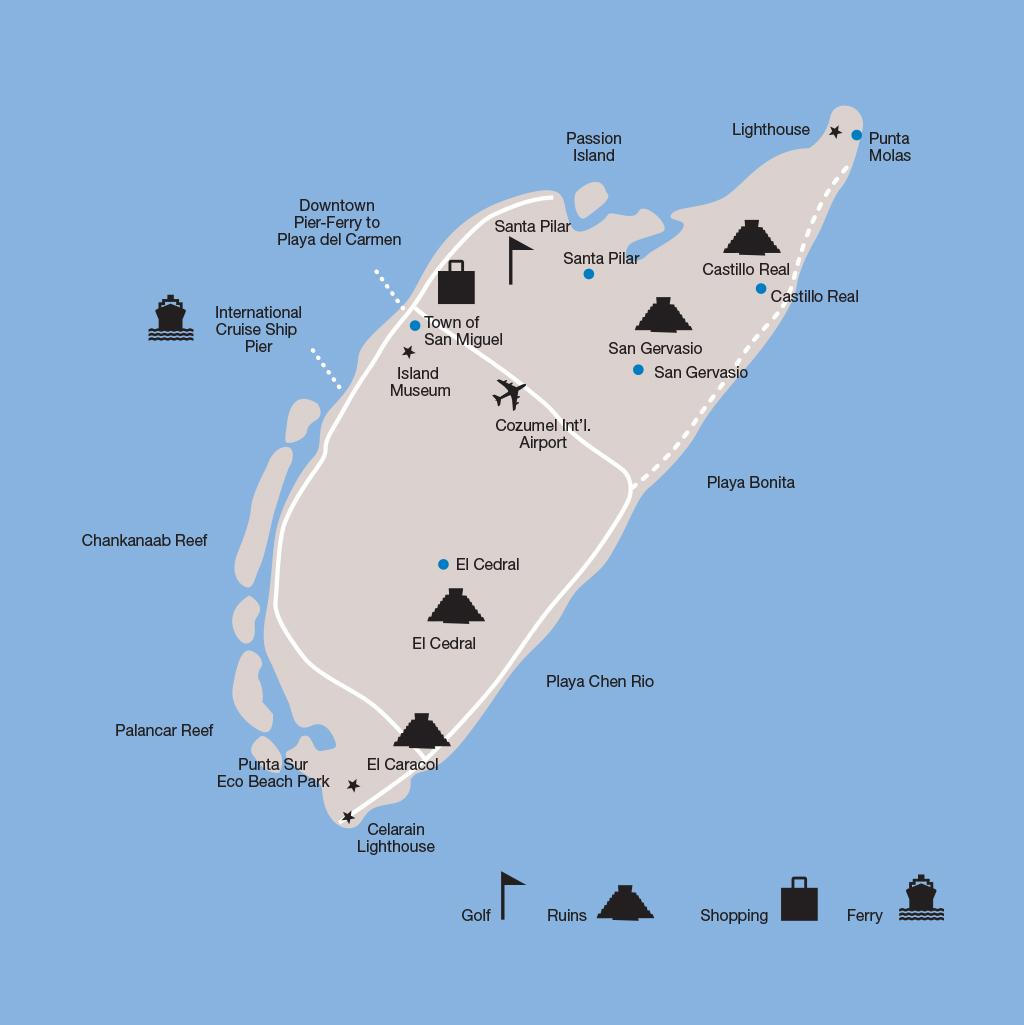 Cozumel vacations map