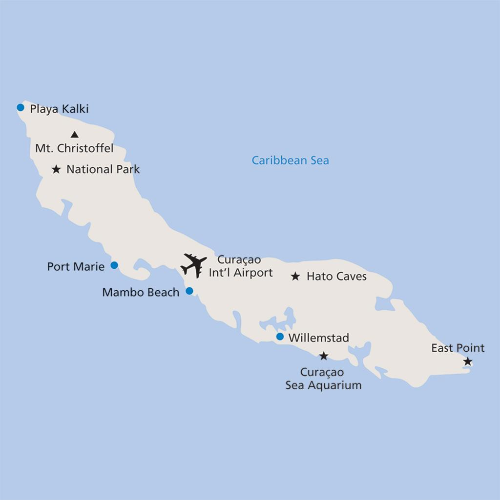 Curacao vacation map
