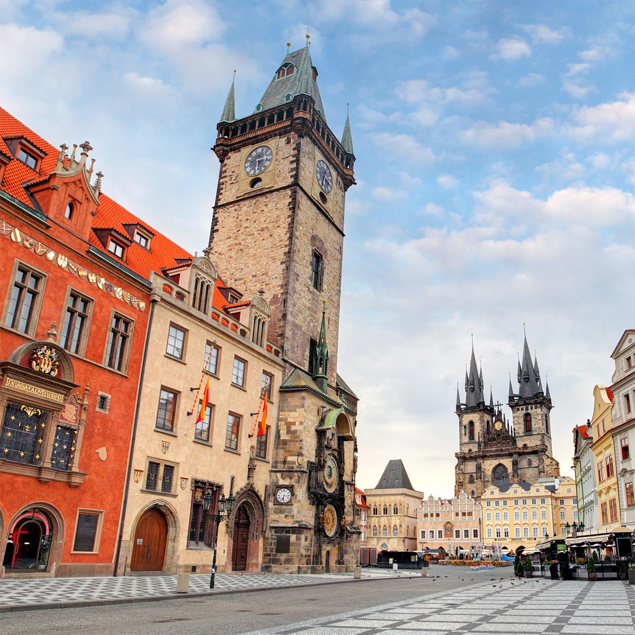 View of the old town hall tower in Prague with Czech Republic vacation packages