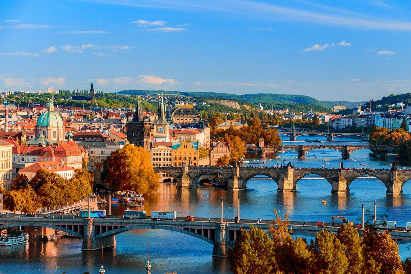 View of the Vlatava River in Prague with a Czech Republic vacation package