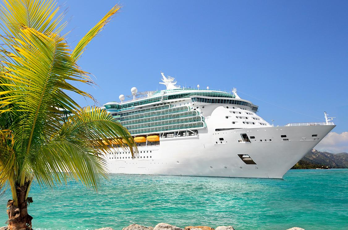 Cruise ship in the beautiful blue Caribbean waters