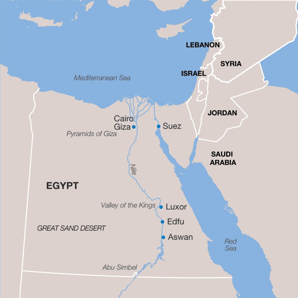 Egypt vacation map