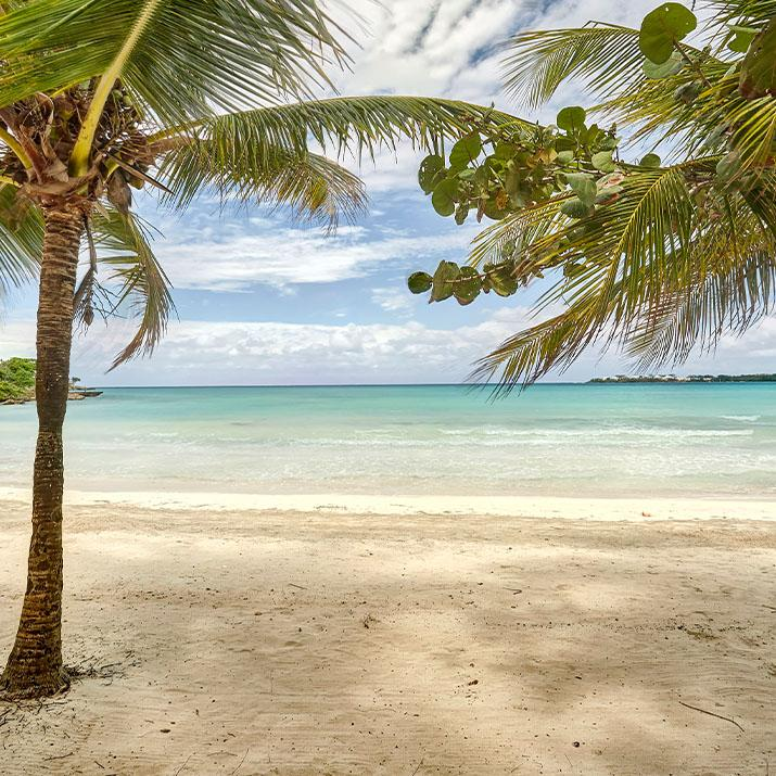 Beach side view from a Blue Diamond resort