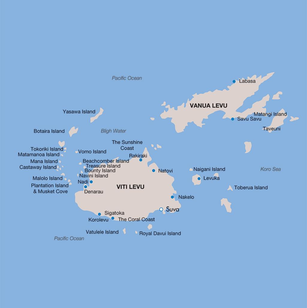 Fiji vacations map