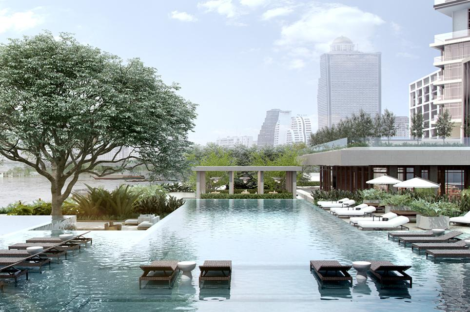 Luxury pool amenities and views at the Four Seasons