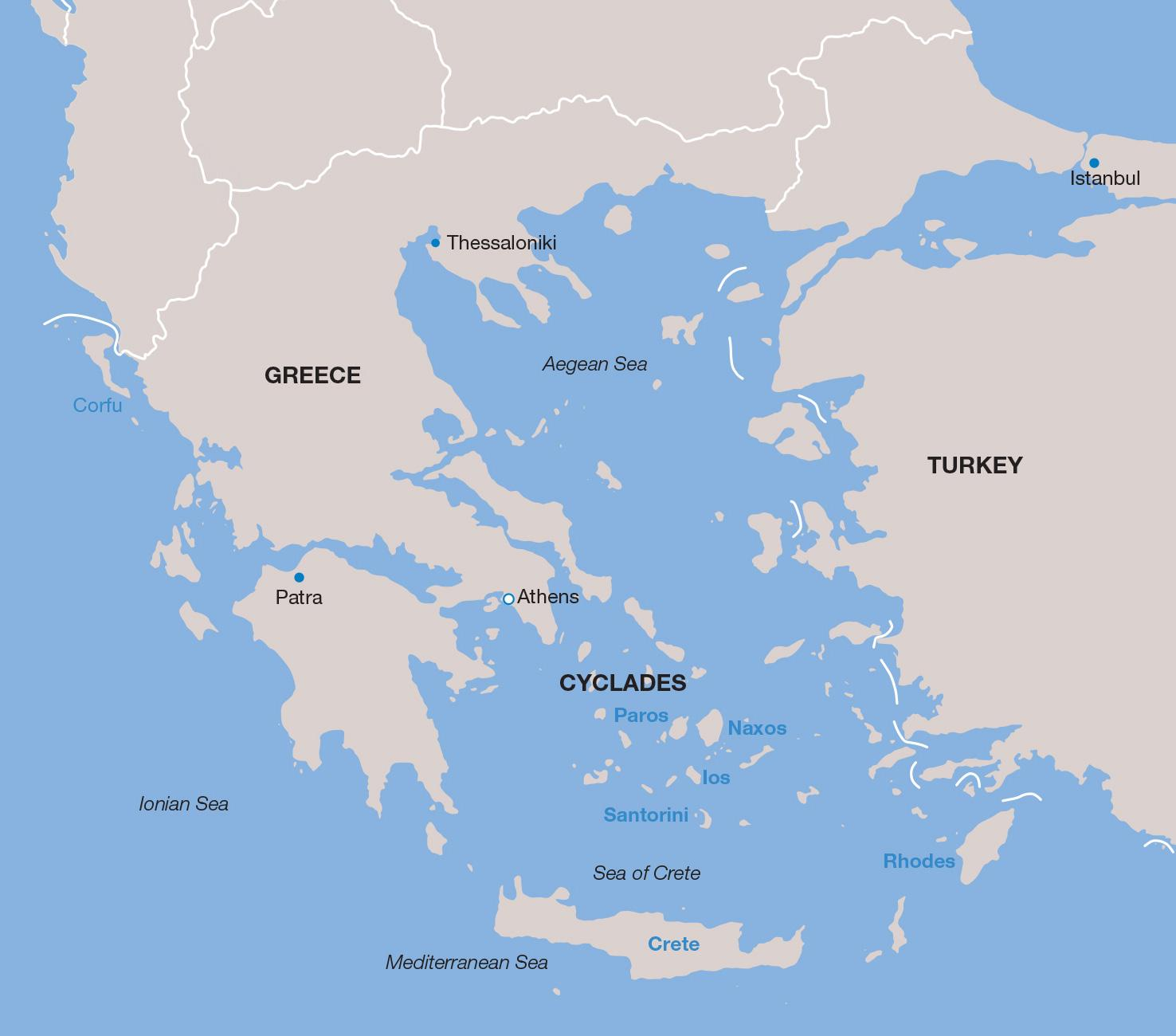 Greece vacations map