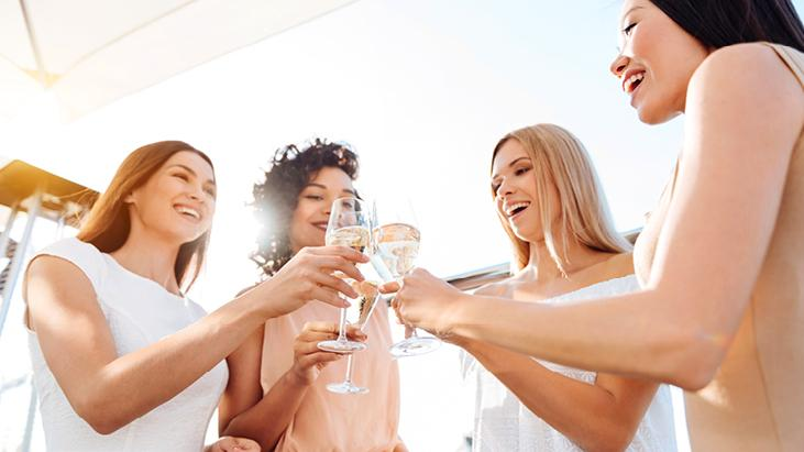 Champagne toast with girlfriends