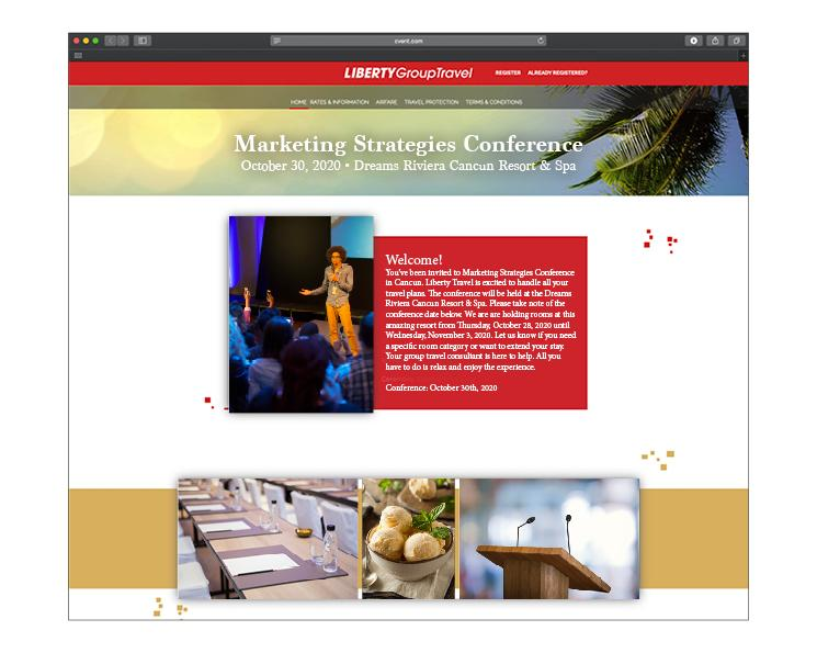 Sample Liberty Group Travel custom business site for the team