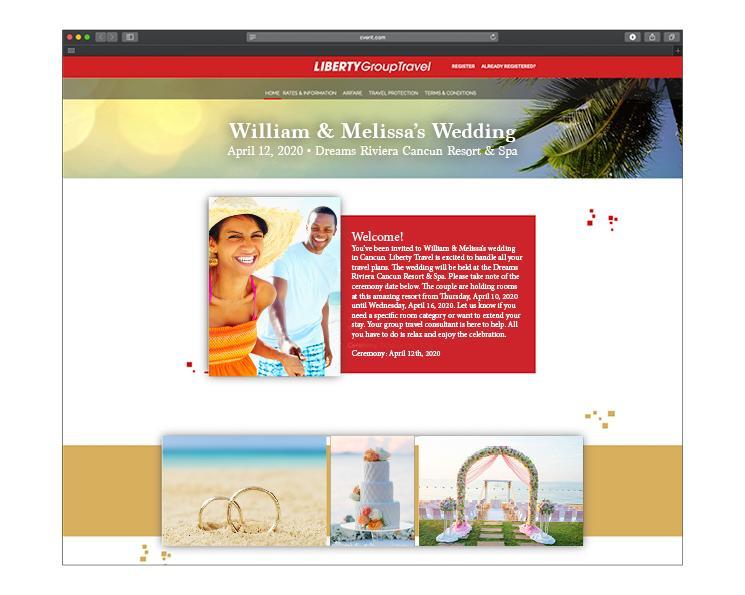Sample Liberty Group Travel wedding invitations