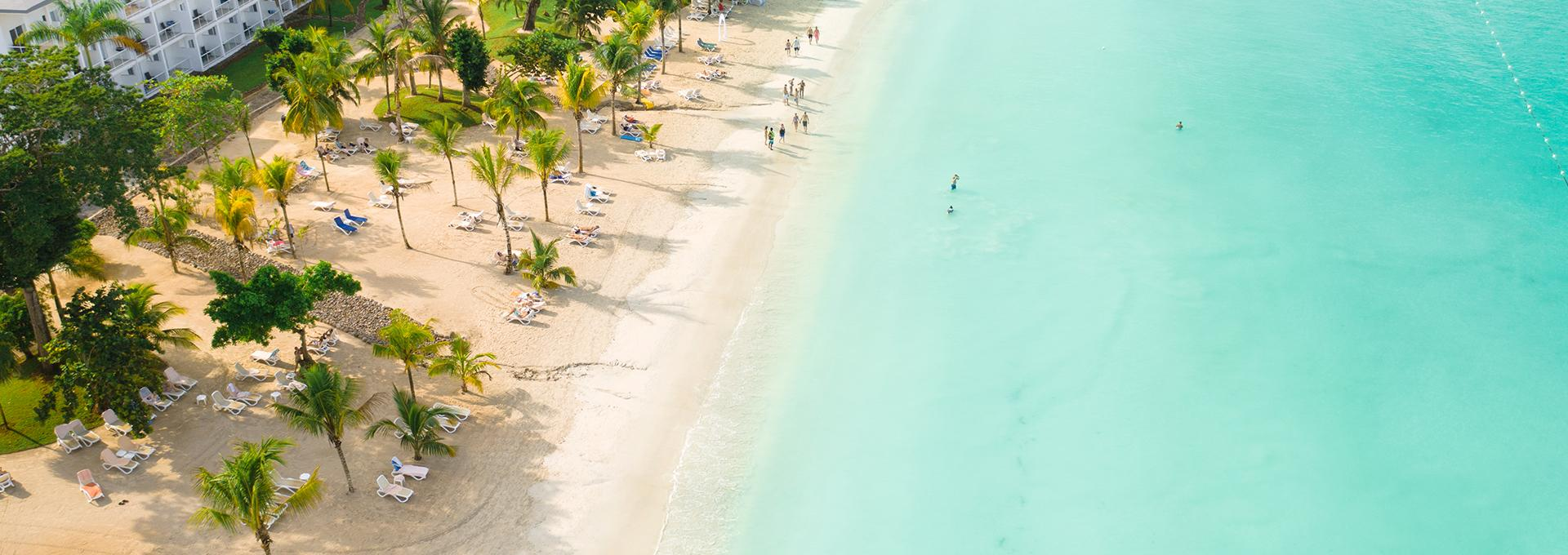 aerial view of the beautiful shoreline of Jamaica