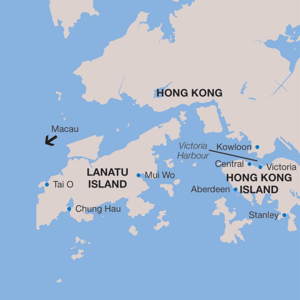 Hong Kong vacations map