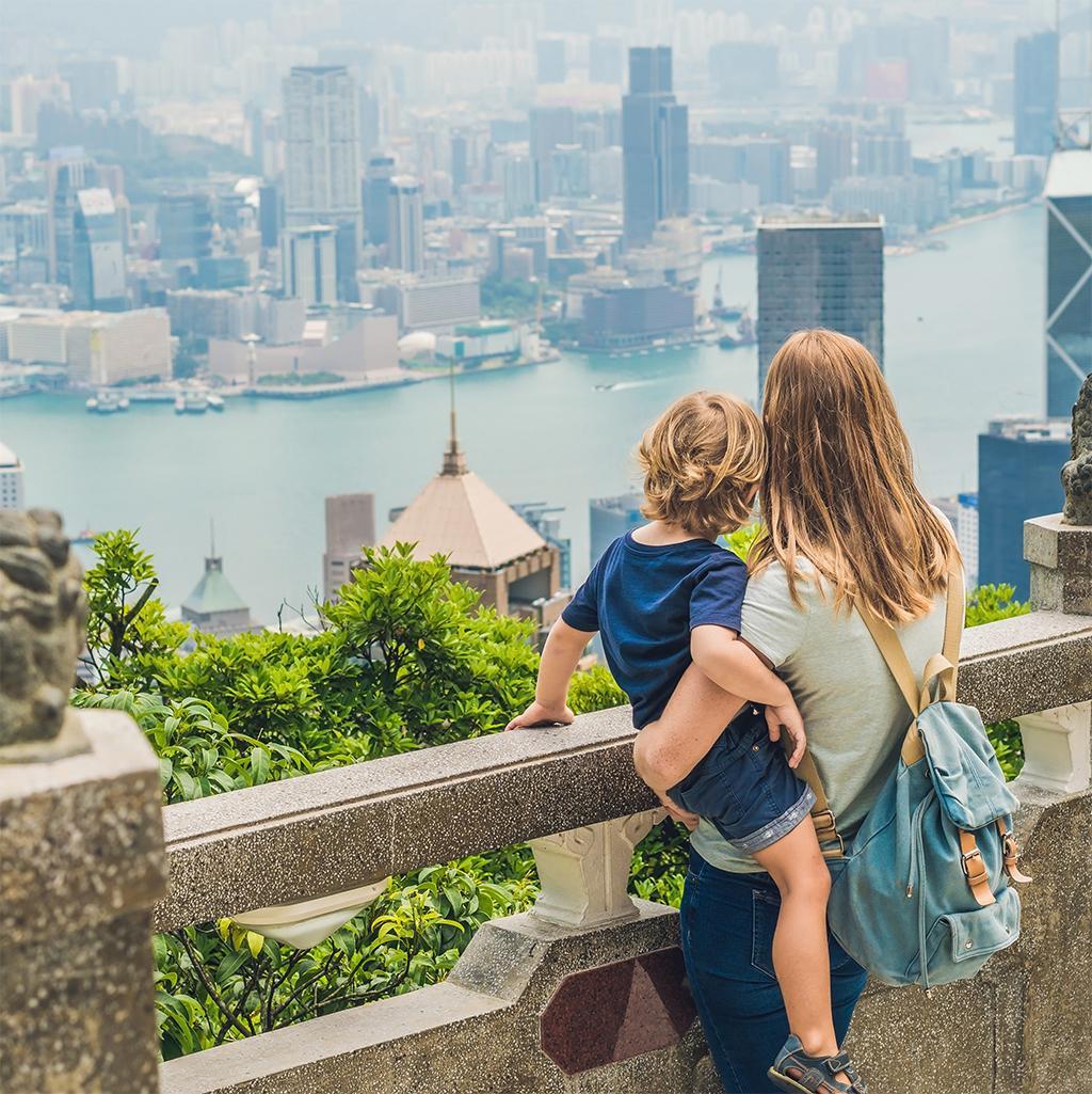 Tourists overlooking Hong Kong