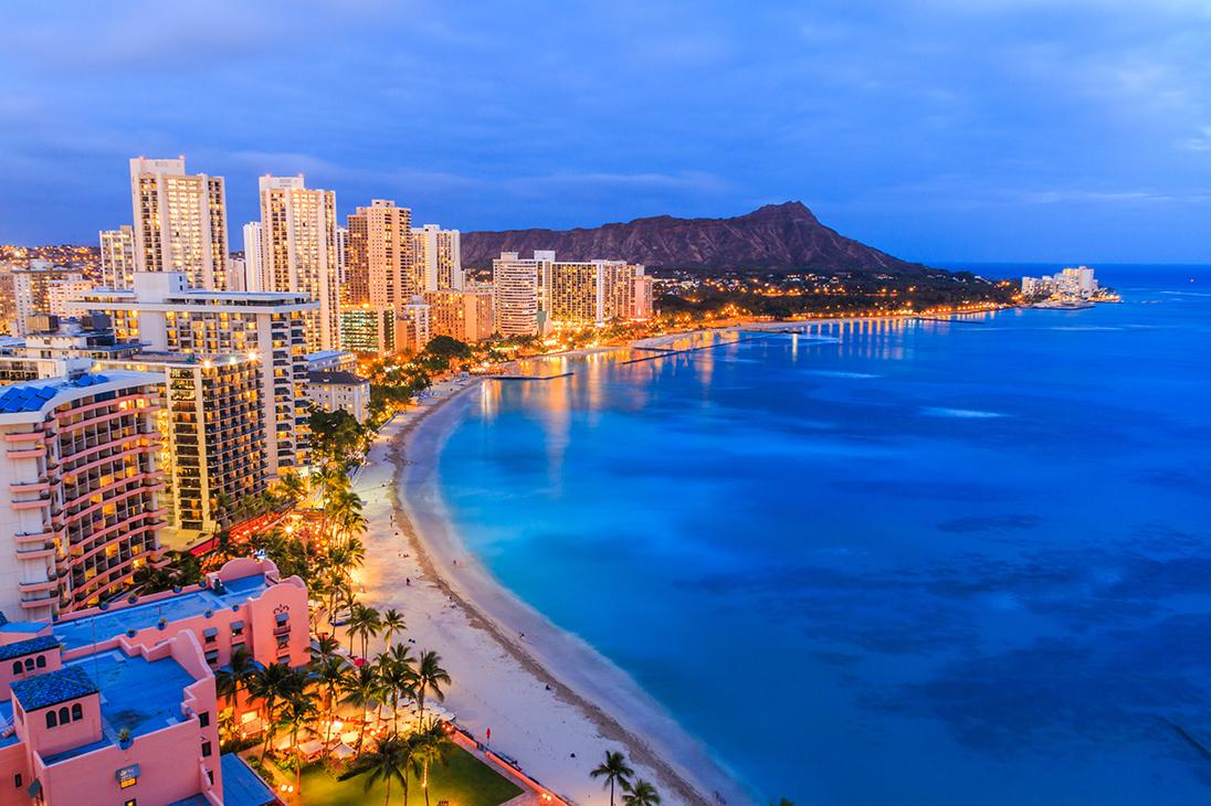 Nighttime views of Honolulu's coastline