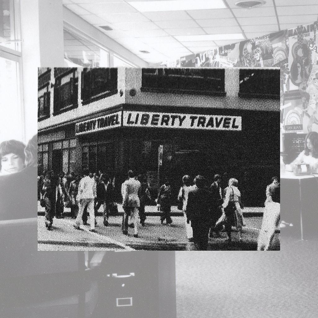A historical photo of a Liberty Travel storefront