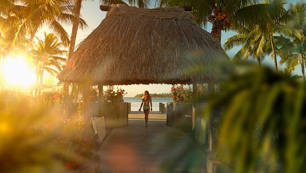 Walking into a beach cabana on vacation