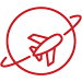 Icon of a plane circling the globe