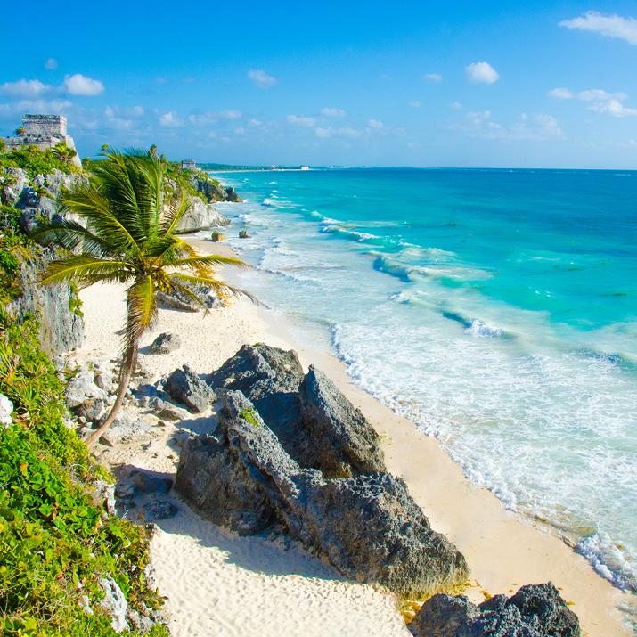 A scenic beach in Mexico