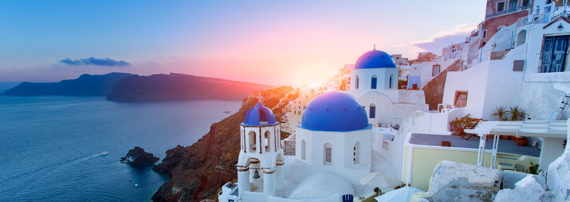 A scenic view at sunset in Greece