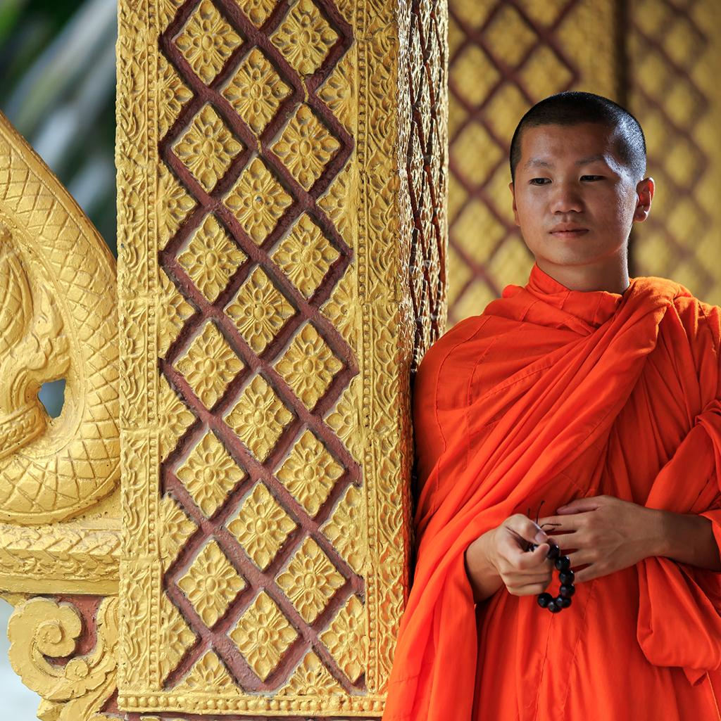 Buddhist monk in a temple in Laos
